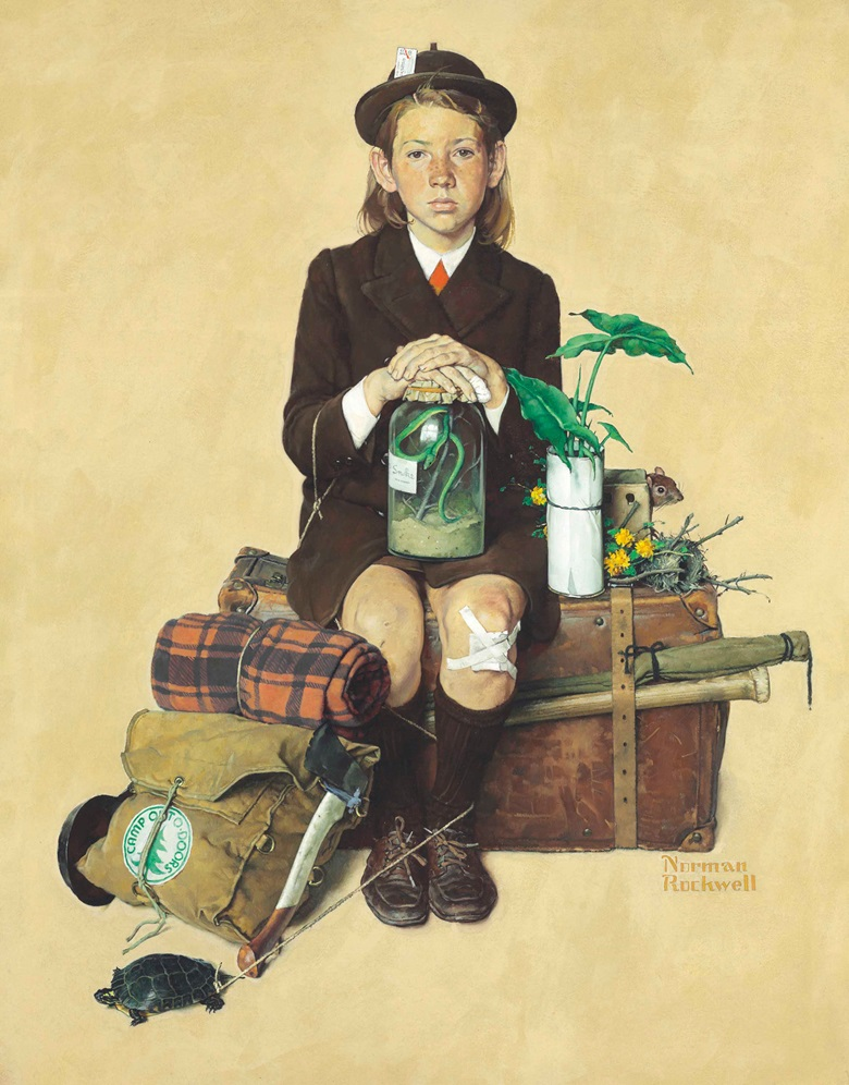 Norman Rockwell (1894-1978), Girl Returning from Camp, 1940. 38 x 29⅞  in (96.5 x 75.9  cm). Estimate $2,000,000-3,000,000. This work is offered in American Art on 21 November 2017  at Christie's in New York