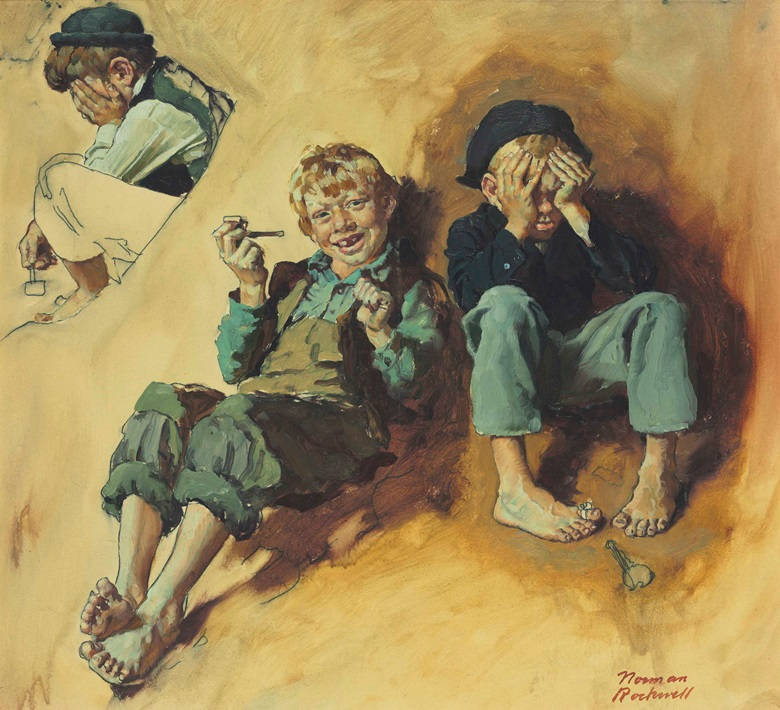 Norman Rockwell (1894-1978), Study for Tom Sawyer (Huck Teaching Tom and Joe to Smoke), 1936. 16 x 17½  in (40.6 x 44.5  cm), sight size. Estimate $150,000-250,000. This work is offered in American Art on 21 November 2017  at Christie's in New York