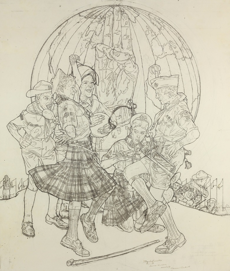 Norman Rockwell (1894-1978), Study for A Good Sign All over the World, 1963. 35½ x 31 in (90.3 x 78.8 cm). Estimate                    $30,000-50,000. This work is offered in American Art Online, 14-21 November