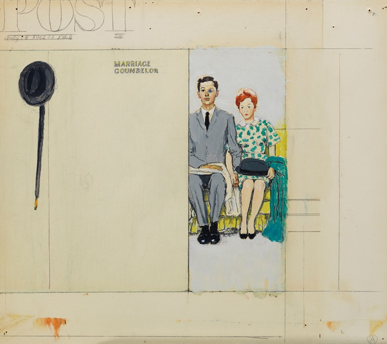 Norman Rockwell (1894-1978), Study for Marriage Counselor, circa 1963. 11 x 11⅞ in (27.9 x 30.2 cm); 13 x 14⅞ in (33 x 37.8 cm) overall. Estimate                    $25,000-35,000. This work is offered in American Art Online, 14-21 November