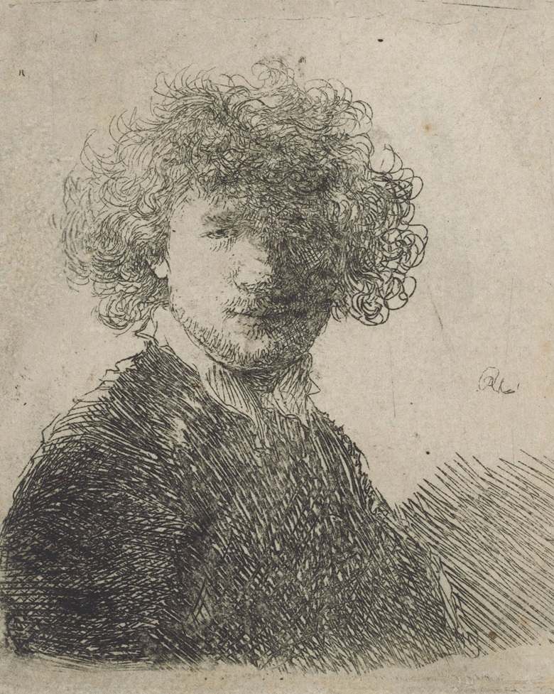 Rembrandt Harmensz. van Rijn (1606-1669), Self-Portrait, with Curly Hair and White Collar Bust. Etching, circa 1630, on laid paper, without watermark. Plate 57 x 50  mm. Sheet 60 x 51  mm. Sold for £8,750 on 14 December 2017  at Christie's in London