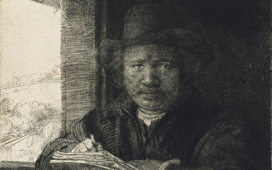 Rembrandt Harmensz. van Rijn (1606-1669), Self-Portrait etching at a Window. Plate 155 x 129  mm, Sheet 158 x 130  mm. Estimate £100,000-150,000. This lot is offered in Old Master Prints on 14