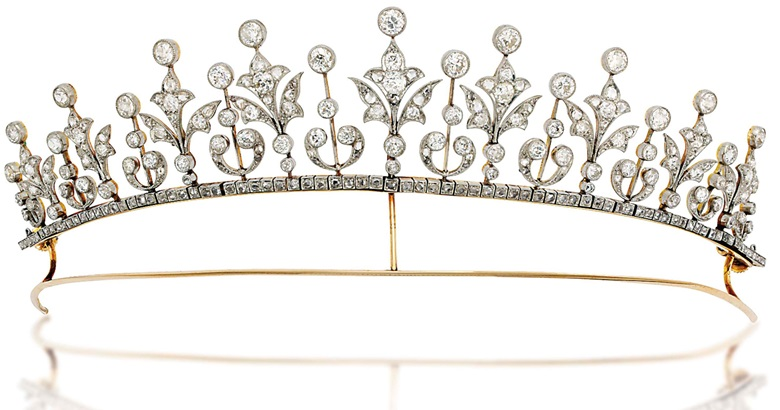 An early-20th-century diamond tiara  necklace. Composed of a graduated series of rose and old-cut diamond millegrain-set foliate motifs alternately set between diamond collet accents raised on knifebar connections, with rose-cut diamond line below and similarly-set detachable backchain, mounted in platinum and gold, circa 1900. As a necklace 37 cm long, original case. Sold for £15,000 on 27