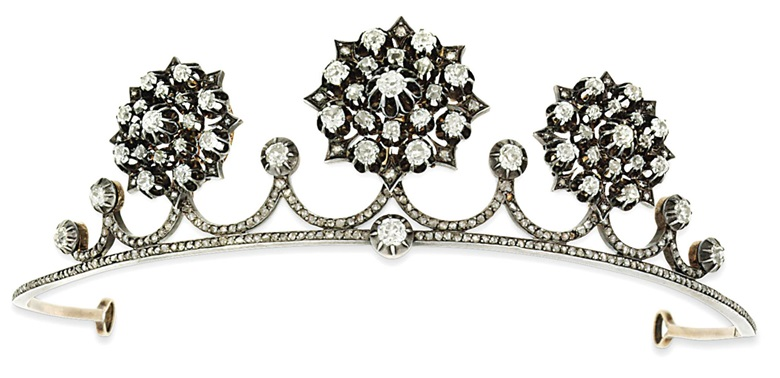 A late 19th-century diamond tiara. Sold for £8,125 on 11 December 2013  at Christie's in London, South Kensington