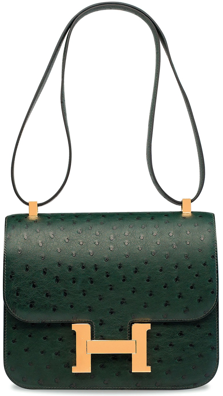 A vert titian ostrich constance 24 with gold hardware, Hermès, 2017. 24 w x 15 h x 5 d cm. Estimate HK$100,000-150,000. This lot is offered in Handbags & Accessories  on 29 November 2017  at Christie's in Hong Kong, HKCEC Grand Hall
