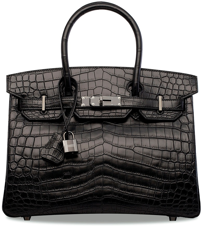 A rare, matte black niloticus crocodile So Black birkin 30 with black hardware, Hermès, 2010. 30 w x 20 h x 15 d cm. Sold for HK$1,125,000 on 29 November 2017  at Christie's in Hong Kong, HKCEC Grand Hall