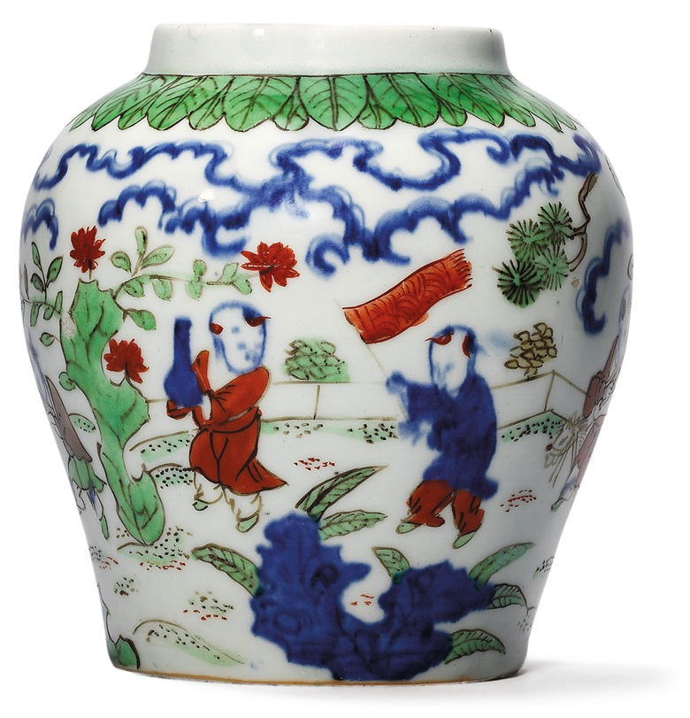 A very rare wucai 'boys' jar, Jiajing six-character mark in underglaze blue and of the period (1522-1566). 5½  in (14  cm) high, Japanese wood box. This lot was offered in Important Ming Imperial Works of Art from The Le Cong Tang Collection Evening Sale on 27 November 2017  at Christie's in Hong Kong and sold for HKD 4,420,000