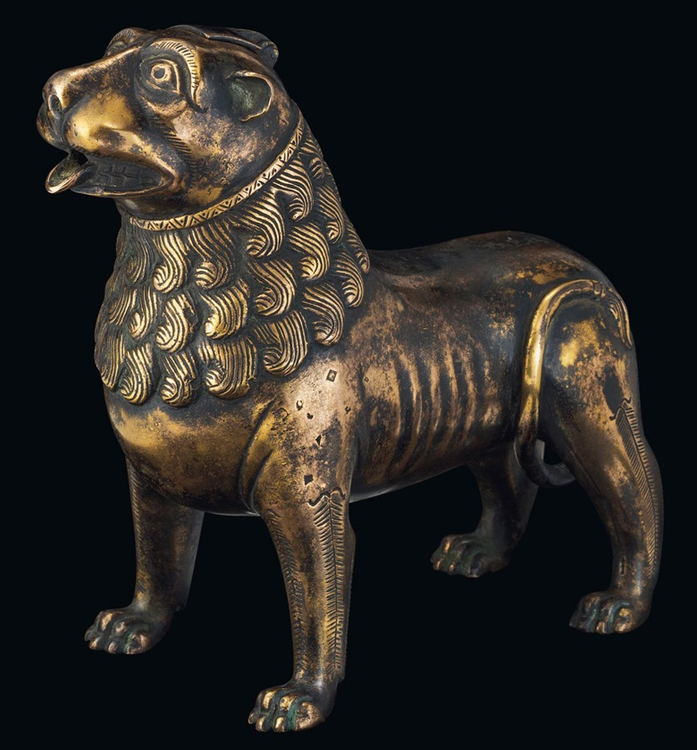 Lion aquamanile, circa 1200. 6  in (15.3  cm) long; 5⅞  in (15  cm) high. Estimate £100,000-150,000. This lot is offered in European Sculpture on 6 December 2017  at Christie's in London