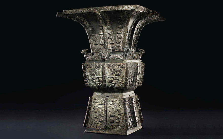 A magnificent and highly important bronze ritual wine vessel, fangzun, late Shang dynasty, Anyang, 13th-11th century BC, 20⅝ in (52.4 cm) high. Sold for $37,207,500 on 15 March 2017 at