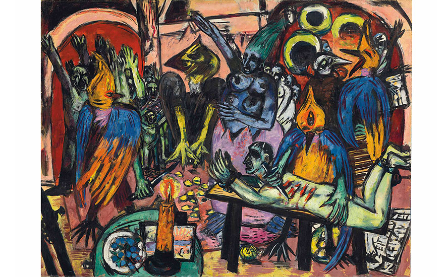 Max Beckmann (1884-1950), Hölle der Vögel, painted in 1937-1938 ©DACS 2017. 47⅛ x 63⅛ in (119.7 x 160.4 cm). Sold for £36,005,000 on 27 June 2017 at Christie's in London