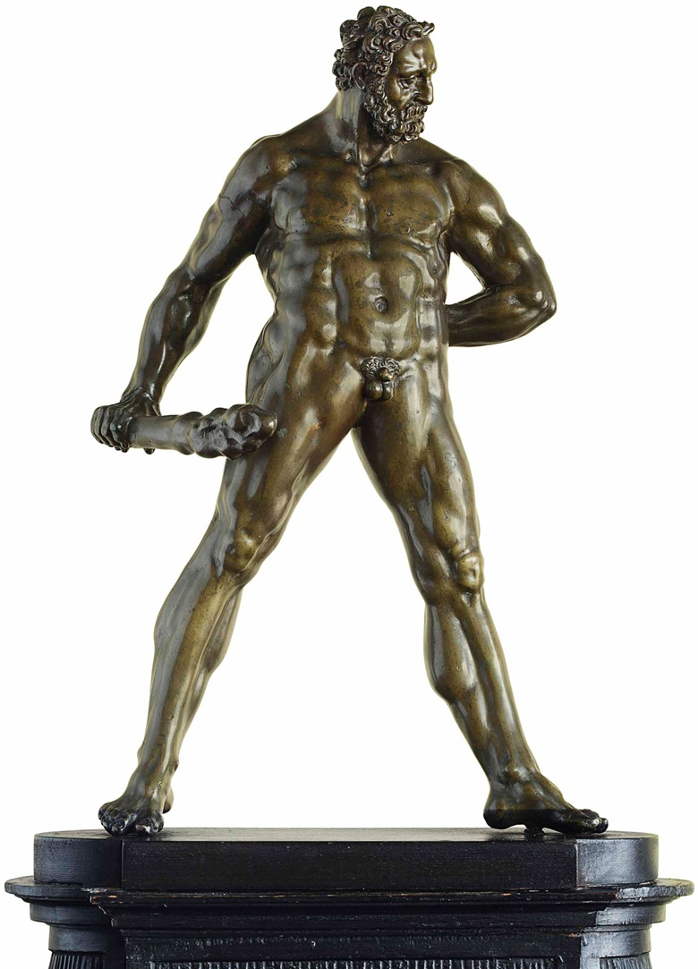A bronze figure of Hercules Pomarius, by Willem Danielsz. van Tetrode (c. 1525-1580), third quarter 16th century. 15¼  in (39  cm) high; 21¼  in (54  cm) high, overall. Sold for $2,045,000 on 28 January 2015  at Christie's in New York