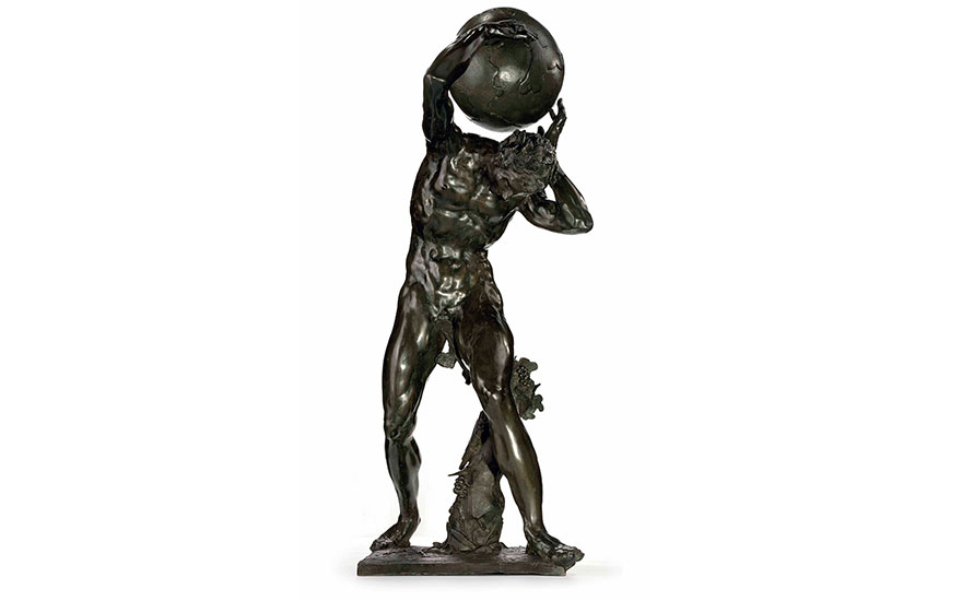 A Bronze Bacchic Figure Supporting the Globe, by Adriaen de Vries (1556-1626), 1626. 43  in (109 cm) high. Sold for $27,885,000 on 11 December 2014  at Christie's in New York