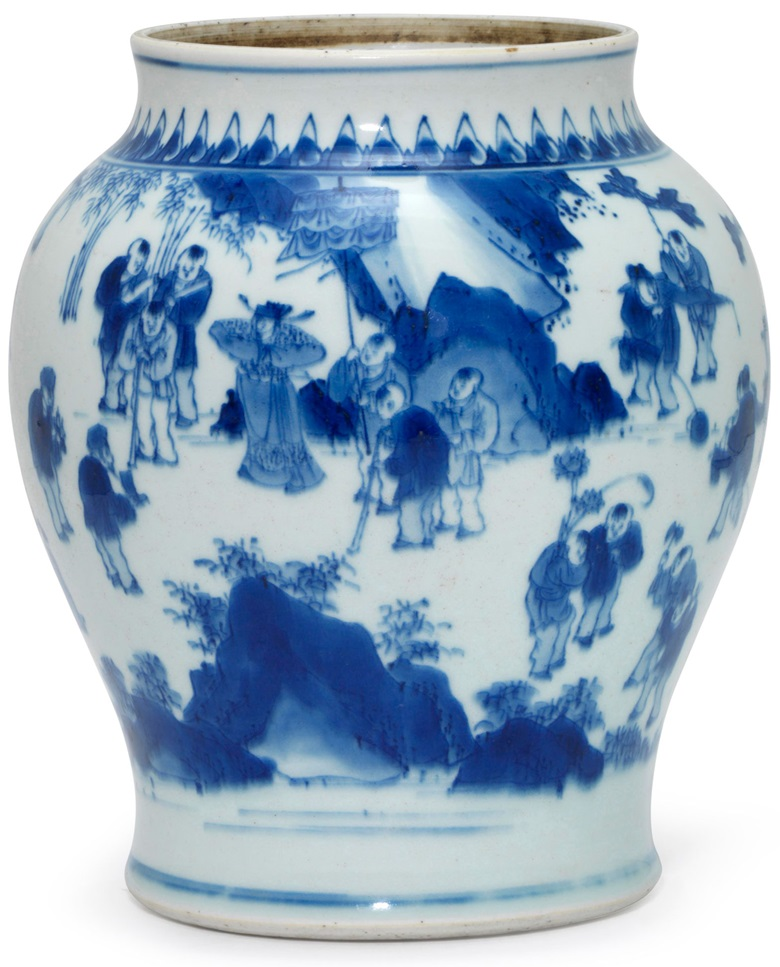 A blue and white hundred boys jar, Transitional period, mid-17th century. 8.5 in (21.6 cm) high. Estimate $5,000-8,000. This lot is offered in The Art of China Online Winter Sale, 30 November to 6 December 2017, Online