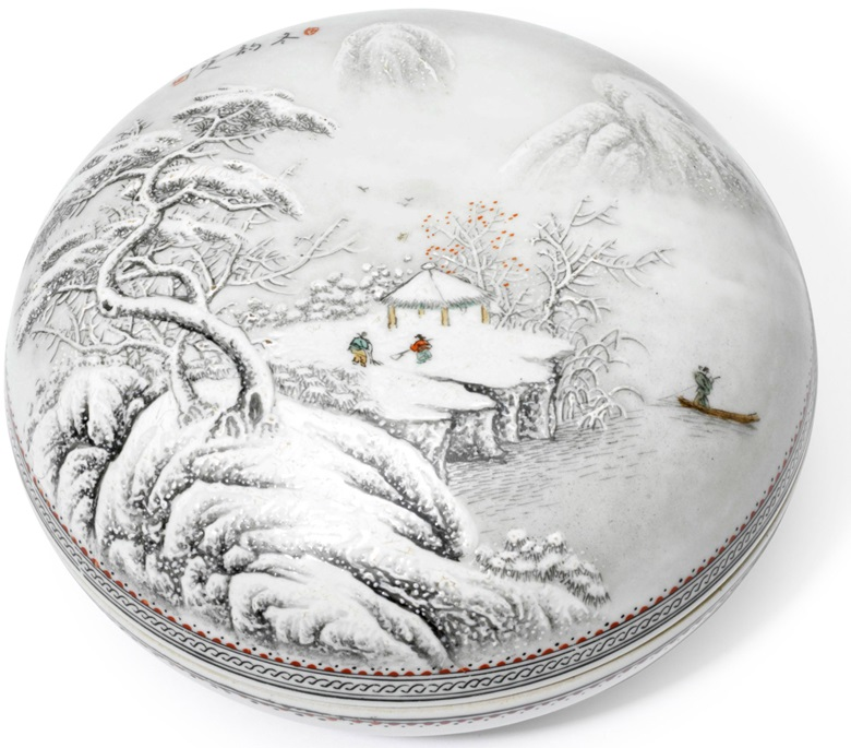 An en grisaille-decorated snow landscape box and cover, 20th century. 7¼ in (18.5 cm) diam. Estimate $1,000-1,500. This lot is offered in The Art of China Online Winter Sale, 30 November to 6 December 2017, Online