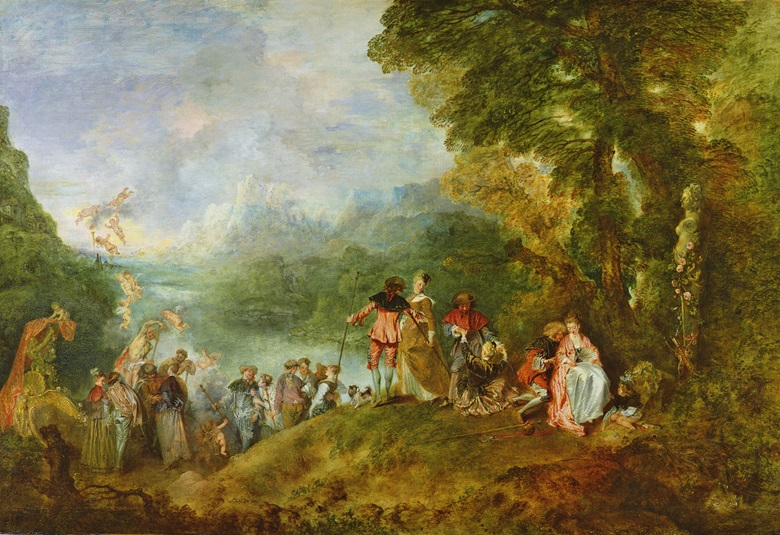 Jean-Antoine Watteau's Pilgrimage to Cythera  from 1717 is one of the earliest known paintings in which Prussian blue was used. Photo Louvre, Paris, France  Bridgeman Images