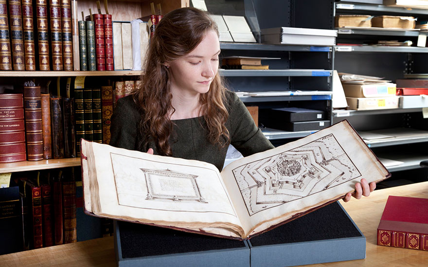 Specialist Rhiannon Knol with Immaginazione Militari, created by Marco Verrici in the late 16th century, offered in Fine Printed Books and Manuscripts Including Americana on 5 December 2017 at