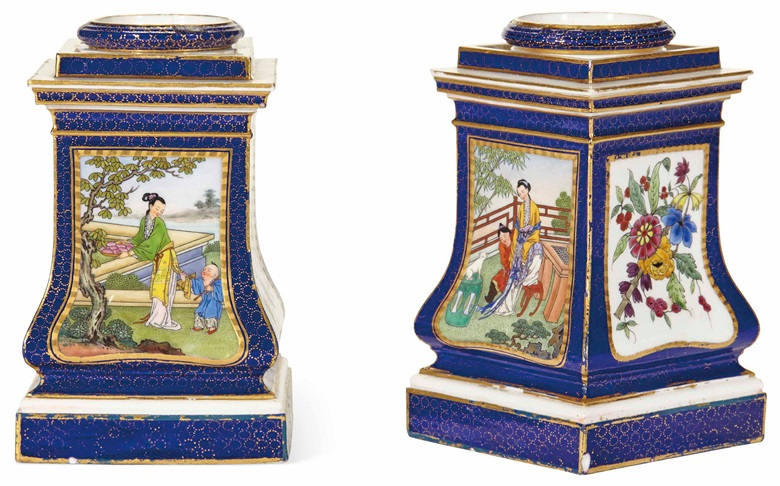 A pair of porcelain Chinese-style onion vases by Charles-Nicolas Dodin, 18th century. Height 15.5  cm (6¼  in). Estimate €60,000-100,000. This lot is offered in The Exceptional Sale on 28 November 2017  at Christie's in Paris