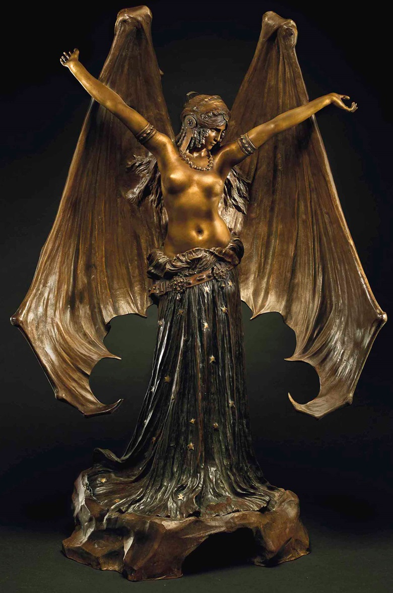 Agathon Léonard (1841-1923), Le Vampire ou la chauve-souris, c. 1903. Height 84 cm (33⅛  in). Estimate €100,000-150,000. This lot is offered in The Exceptional Sale on 28 November 2017  at Christie's in Paris