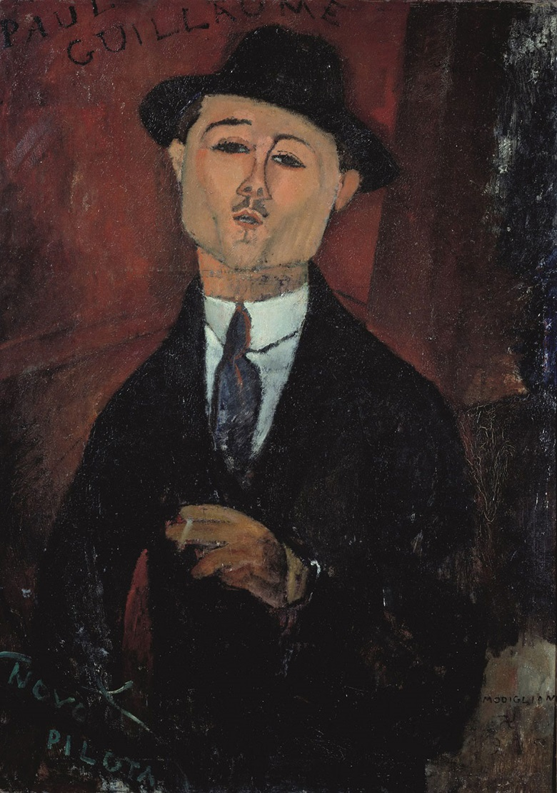 Amadeo Modigliani (1884-1920), Portrait of Paul Guillaume, Novo Pilota, 1915. Oil paint on card mounted on cradled plywood. 1235 x 925 x 100 mm. Musée de l'Orangerie, Paris. Collection Jean Walter et Paul Guillaume