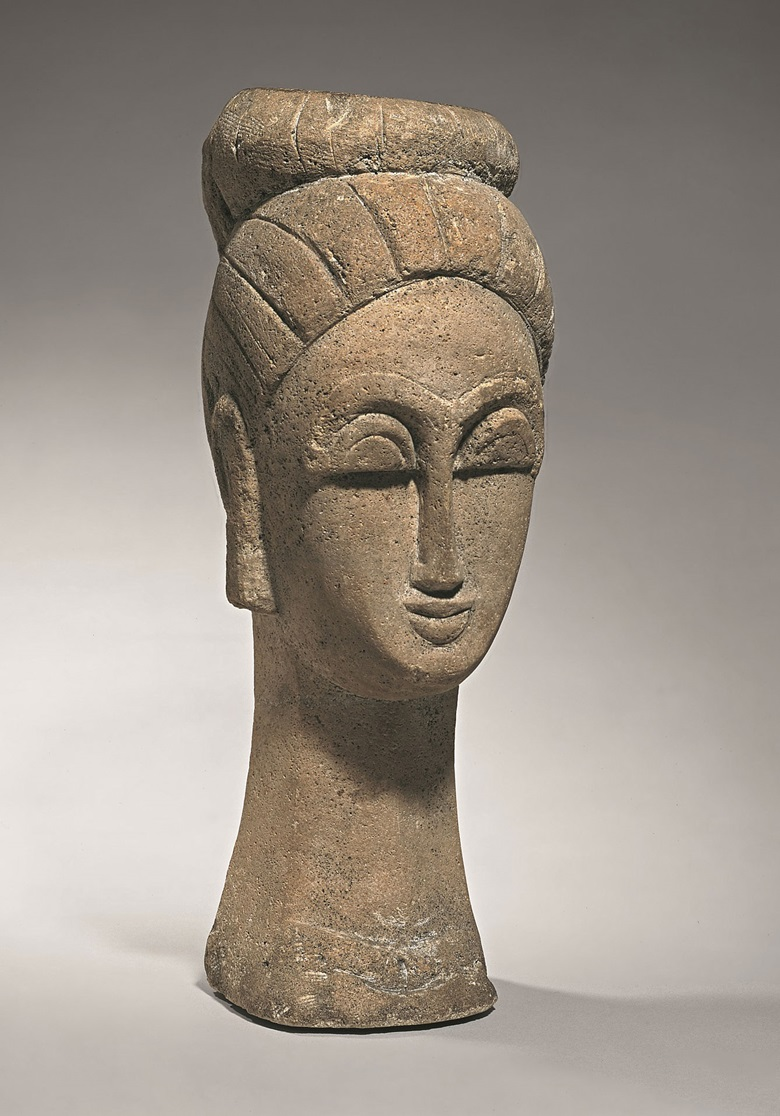 Amadeo Modigliani (1884-1920), Woman's Head (With Chignon), 1911-12. Sandstone. 572 x 219 x 235mm. Merzbacher Kunststiftung