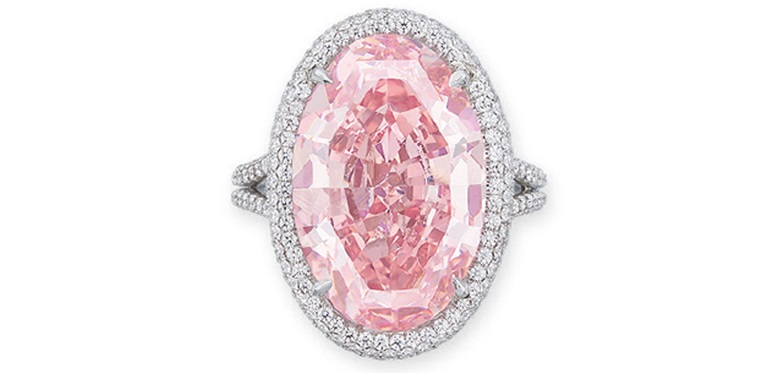 A rare coloured diamond and diamond ring. Estimate HK$220,000,000-320,000,000. This lot is offered in Hong Kong Magnificent Jewels & The Pink Promise on 28 November 2017  at Christie's in Hong Kong