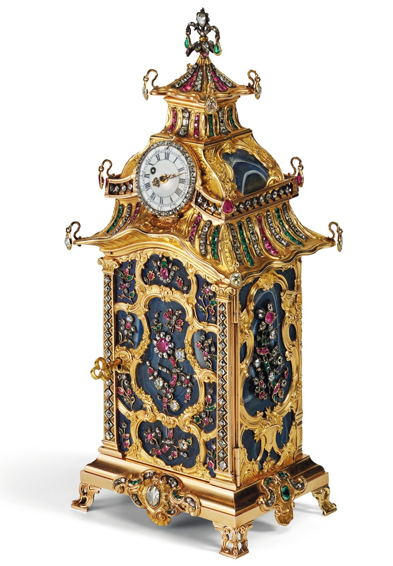 A George III jewelled gold and hardstone nécessaire and watch, London, circa 1760. 8¼  in (210  mm) high. Estimate on request. This lot is offered in Magnificent Jewels on 6 December 2017  at Christie's in New York