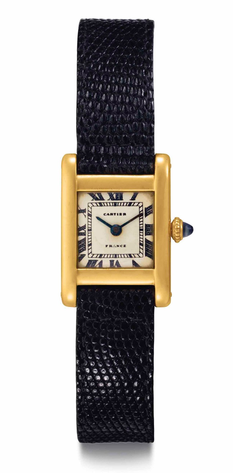 Cartier. A fine and historically important 18k gold square-shaped wristwatch, belonging to Jacqueline Kennedy Onassis. Signed Cartier, Tank model, movement no. 2117860, case no. 44374, manufactured in 1962, accompanied by an original painting by Jacqueline Kennedy Onassis. Sold for $379,500 on 21 June 2017  at Christie's in New York