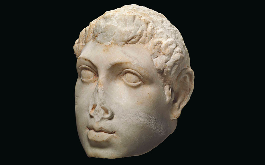 A Greek marble portrait head of Ptolemy VIII, Ptolemaic period, reign of Ptolemy VIII, circa 170-116 B.C., 9⅞  in (25  cm) high. Sold for $612,500 on 25 October 2017  at Christie's in New York