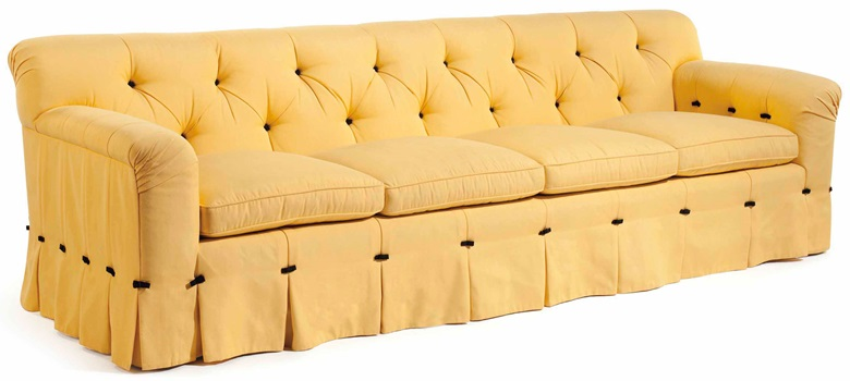 Syrie Maugham (1879-1955), An upholstered sofa, first half 20th century. 110½  in (280.5  cm) long. Estimate $3,000-5,000. This lot is offered in Interiors on 12-13 December 2017  at Christie's in New York