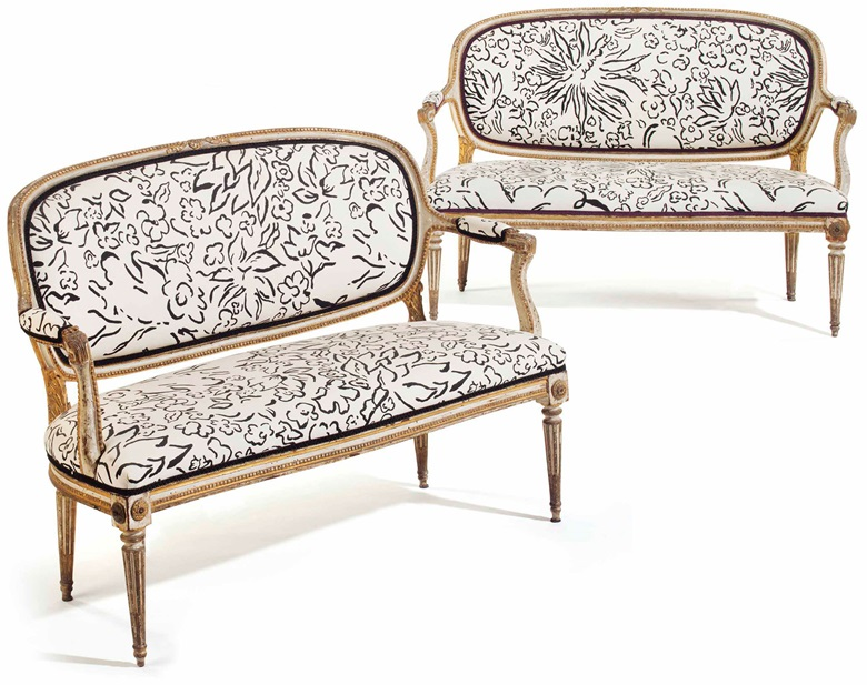 A pair of Louis XVI cream-painted and parcel-gilt canapés, circa 1775. 50½  in (128.5  cm) long, each. Estimate $3,000-5,000. This lot is offered in Interiors on 12-13 December 2017  at Christie's in New York