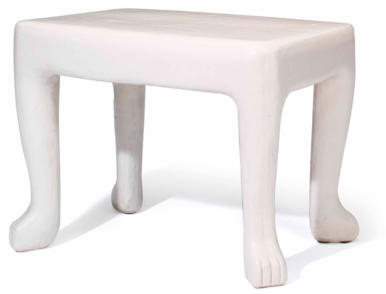 John Dickinson (1920-1982), A white-painted plaster table, circa 1975. 24  in (61  cm) high, 30  in (76.2  cm) wide, 21  in (53.3  cm) deep. Estimate $3,000-5,000. This lot is offered in Interiors on 12-13 December 2017  at Christie's in New York