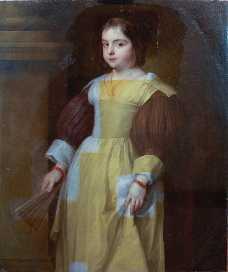 The partial removal of discoloured varnish on Van Dyck's Portrait of a Young Girl, undertaken in Simon Gillespie's studio, reveals the artist's original colours beneath