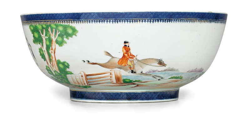 A rare initialed fox hunting punch bowl, Qianlong period, circa 1795. 15⅞  in (40.3  cm) diameter. Estimate $20,000-30,000. This lot is offered in Chinese Export Art Featuring 100 lots from Marchant, est 1925 on 18 January 2018  at Christie's in New York