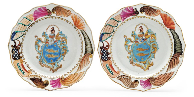 A pair of famille rose armorial scalloped rim plates, Qianlong period, circa 1745. 9⅛  in (23.2  cm) diameter. Estimate $7,000-10,000. This lot is offered in Chinese Export Art Featuring 100 lots from Marchant, est 1925 on 18 January 2018  at Christie's in New York