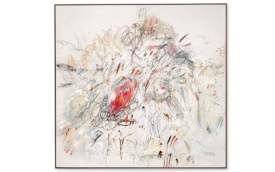 Cy Twombly (1928-2011), Leda and the Swan, painted in 1962. 75¼ x 78¾  in (191 x 200  cm). Sold for $52,887,500 on 17 May 2017  at Christie's in New York. © Cy Twombly