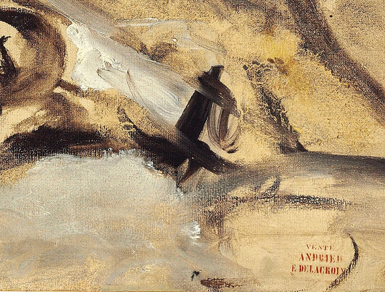 Detail of Eugène Delacroix (French, 1798-1863), Le 28 juillet – la liberté guidant le peuple, 1830, showing the artist's fast and fluid lines