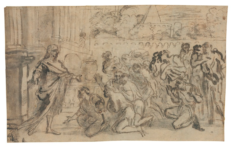 Pier Francesco Mola (Coldrerio 1612-1666 Rome), Joseph greeting his brothers. 9 x 14½  in (22.9 x 31 cm). Estimate $15,000-25,000. This lot is offered in Old Master & British Drawings on 30 January 2018  at Christie's in New York