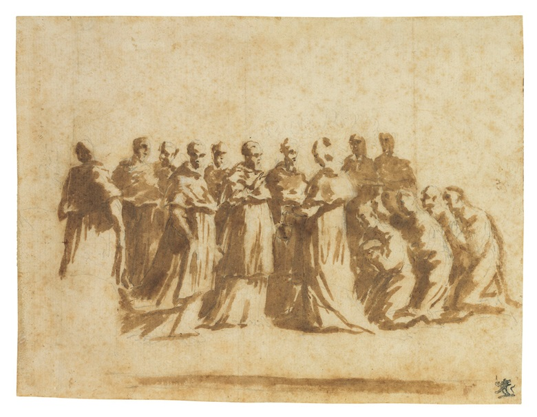 Andrea Sacchi (Nettuno 1599-1661 Rome), Study for the 'Centenary of the Jesuit Order'. 5⅞ x 7⅝  in (14.8 x 19.4 cm). Estimate $15,000-20,000. This lot is offered in Old Master & British Drawings on 30 January 2018  at Christie's in New York