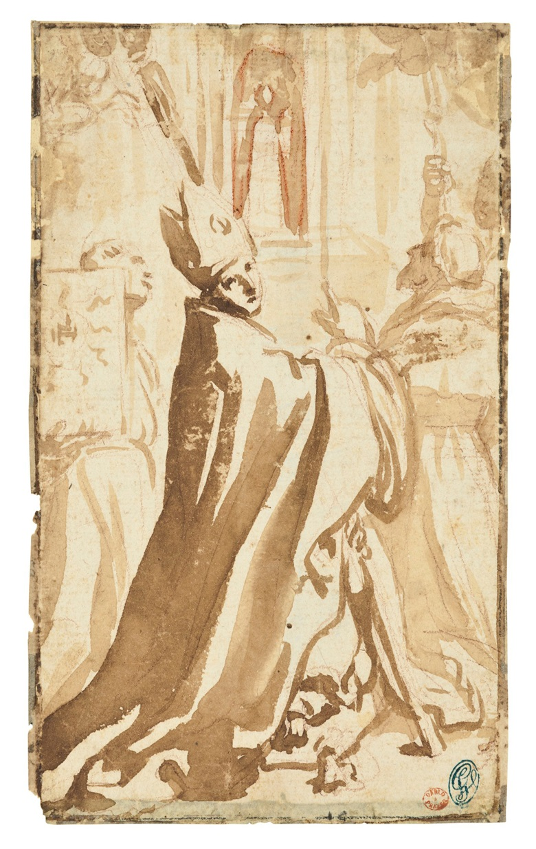 Elisabetta Sirani (Bologna 1638-1665), Study for the Madonna di Loreto with Saints Thomas of Villanova, Bernardino of Siena, Lawrence, Francis and Pellegrino. 6½ x 3¾  in (16.5 x 9.7 cm). Estimate $3,000-4,000. This lot is offered in Old Master & British Drawings on 30 January 2018  at Christie's in New York