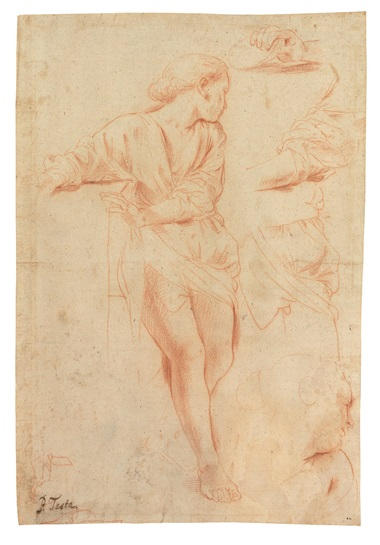 Pietro Testa (Lucca 1611-1650 Rome), Studies for a young woman turned to the right  (recto); Studies for her head in profile and left hand  (verso). 13⅞ x 9½  in (35.2 x 24.1 cm). Estimate $30,000-50,000. This lot is offered in Old Master & British Drawings on 30 January 2018  at Christie's in New York