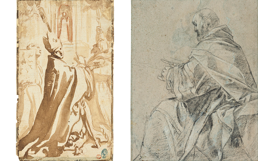 Left Elisabetta Sirani (Bologna 1638-1665), Study for the Madonna di Loreto with Saints Thomas of Villanova, Bernardino da Siena, Lawrence, Francis and Pellegrino. Right Giacomo Cavedone (1577-1660),