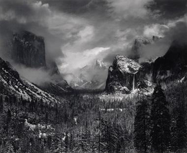 Ansel Adams (1902–1984), Clearing Winter Storm, Yosemite National Park, California, 1938. Gelatin silver print, mounted on board, printed by 1963. Imagesheet 12⅛ x 14⅞ in (30.8 x 37.8 cm). Mount 22 x 28 in (55.9 x 71.1 cm). Estimate $60,000-80,000. This work is offered in the Photographs Day Sale on 10 October at Christie's in New York