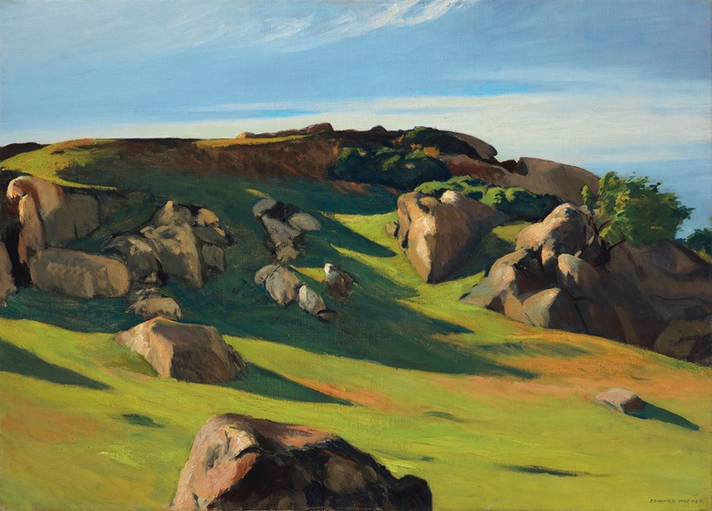 Edward Hopper (1882-1967), Cape Ann Granite, 1928. 29 x 40¼  in (71.1 x 102.2  cm). Estimate $6,000,000-8,000,000. This lot is offered in The Collection of David and Peggy Rockefeller Art of the Americas, Evening Sale on 9 May at Christie's in New York © Heirs of Josephine N. Hopper, licensed by the Whitney Museum of American Art