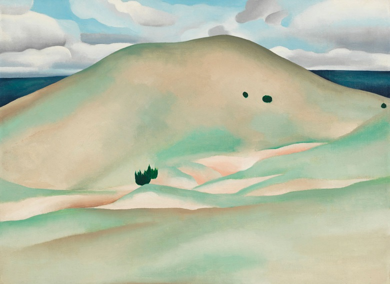 Georgia O'Keeffe (1887-1986), New Mexico — Near Taos, 1929. Oil on canvas laid down on board. 17 x 23.9 in (45.1 x 60.7 cm). Estimate $2,000,000-3,000,000. This work will be offered in The Collection of Peggy and David Rockefeller in Spring 2018 at Christie's in New York © 2018 Georgia OKeeffe Museum  Artists Rights Society (ARS), New York