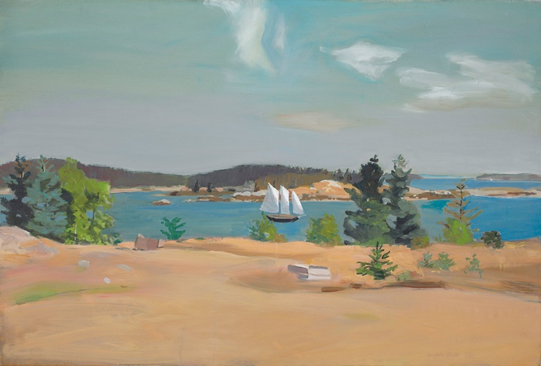 Fairfield Porter (1907-1975), The Schooner II, 1965. 37⅛ x 54⅛  in (94.2 x 137.5  cm). Estimate $1,000,000-1,500,000. This lot is offered in The Collection of David and Peggy Rockefeller Art of the Americas, Evening Sale on 9 May at Christie's in New York © 2018 The Estate of Fairfield Porter  Artists Rights Society (ARS), New York