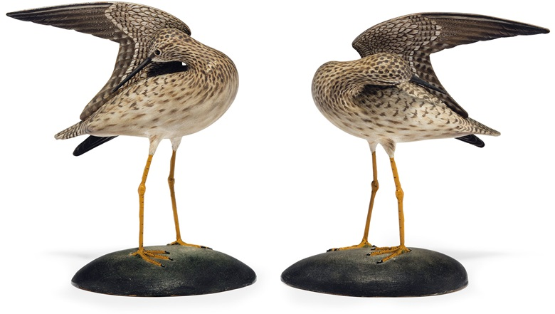Two decorative lesser yellowlegs. A. Elmer Crowell (1862-1952), circa 1930. 7 in (17.8 cm) long. Estimate $30,000-50,000. This lot will be offered in The Collection of Peggy and David Rockefeller in Spring 2018 at Christie's in New York
