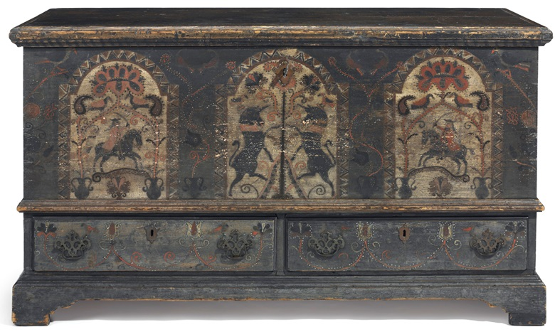 A Pennsylvania German unicorn-painted poplar chest-over-drawers, Bern township, Berks County, Pennsylvania, circa 1790. 29 in (73.7 cm) high, 52 in (135.6 cm) wide, 23 in (58.4 cm) deep. Estimate $40,000-80,000. This piece will be offered in The Collection of Peggy and David Rockefeller in Spring 2018 at Christie's in New York