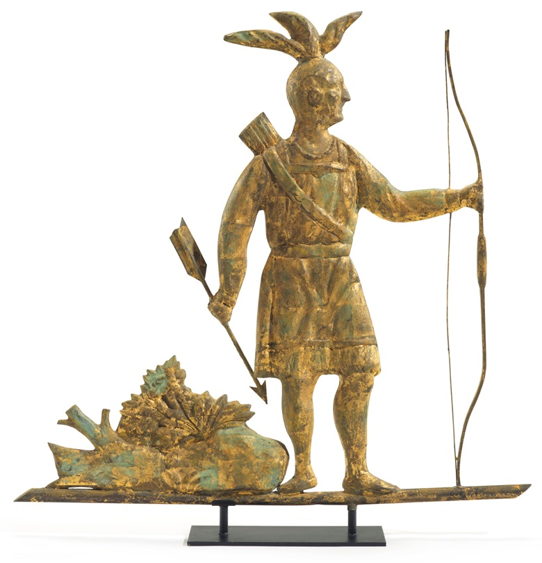 A molded and gilt-copper Massasoit Indian weathervane, attributed to J. Harris & Co. (w. 1868-1882) or W. A. Snow Company (w. 1883-1940), Boston, 1875-1900. Estimate $30,000-50,000. This lot is offered in The Collection of David and Peggy Rockefeller Travel & Americana on 10 May at Christie's in New York
