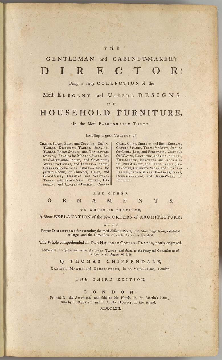 The Gentleman and Cabinet-Maker's Director by Thomas Chippendale — the book of designs that 'launched' his career. Photo Alamy