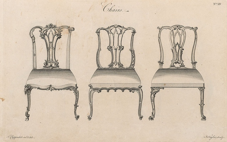 Chair designs by Thomas Chippendale, illustrated in The Gentleman and Cabinet-Maker's Director, engraved by Isaac Taylor 1762. Credit Museum of Fine Art, Boston Massachusetts, USA  Gift of Maxim Karolik  Bridgeman Images